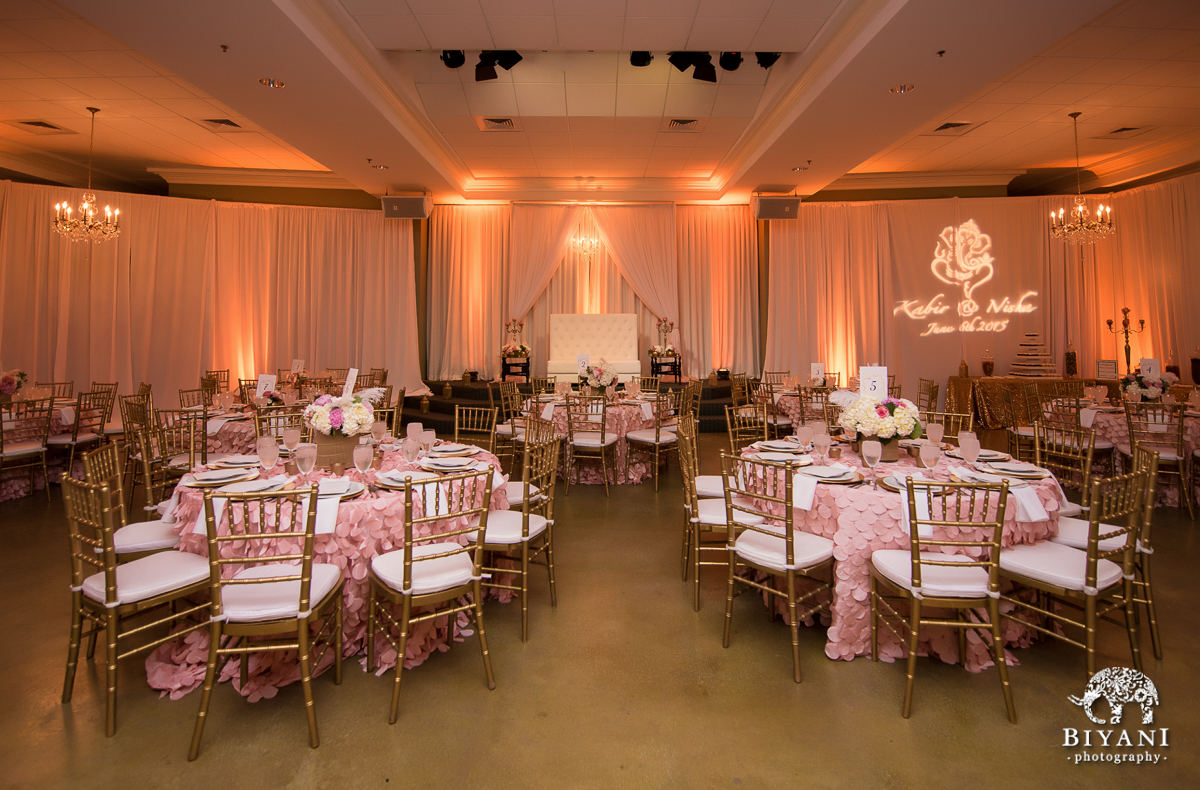 Blush  Gold Romantic Indian Wedding Reception  Oaks