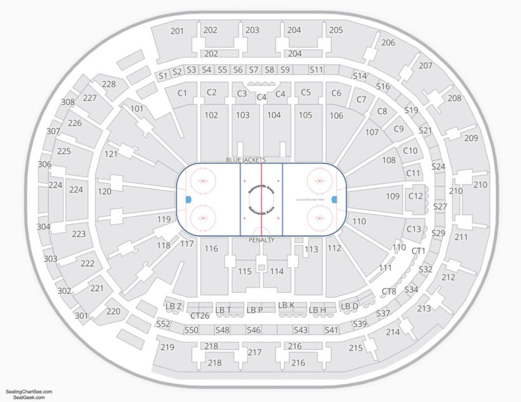 Nationwide Arena Seating Chart Rows Elcho Table