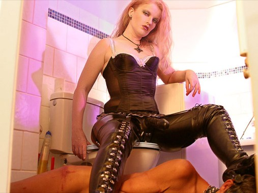 Cruel Mistress in Boots Trashes a male slave