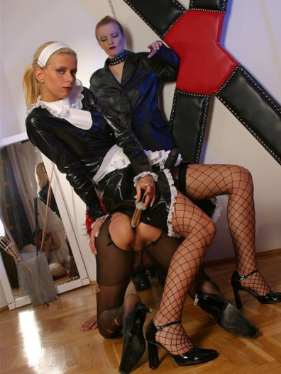 Dominatrix and Her Blond Maid Restrain and Torture a sissified slave
