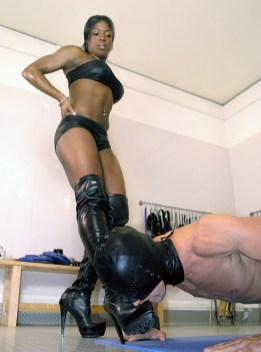 Gorgeous Black Dominatrix Disciplines Her two slaves and Trains them Hard