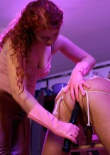 Sexy Redhead Domina Binds, Spreads and Penetrates Her helpless slave