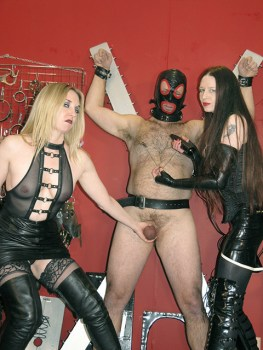 Two Gorgeous Mistresses Humiliate Their two male slaves in the Dungeon