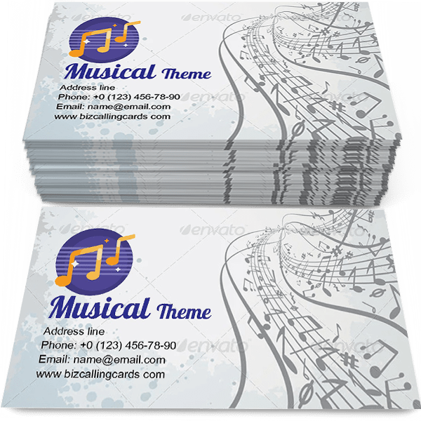Sample of Abstract Musical Theme calling card design for advertisements marketing ideas and promote melody training branding identity