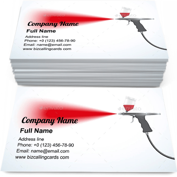 Editable Airbrush With Paint Spray Business Card Template