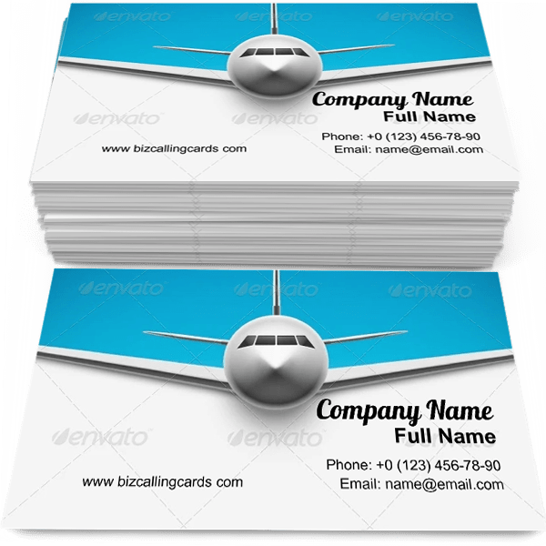 Sample of Airplane around the world calling card design for advertisements marketing ideas and promote flight branding identity