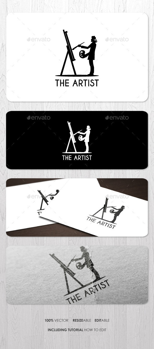 Artist Logo Template for Your paint brushes Business Card