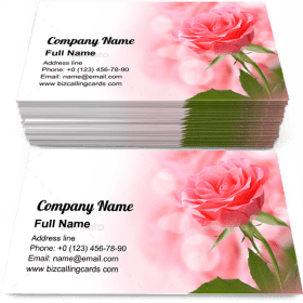 Beautiful Pink Rose Business Card Template