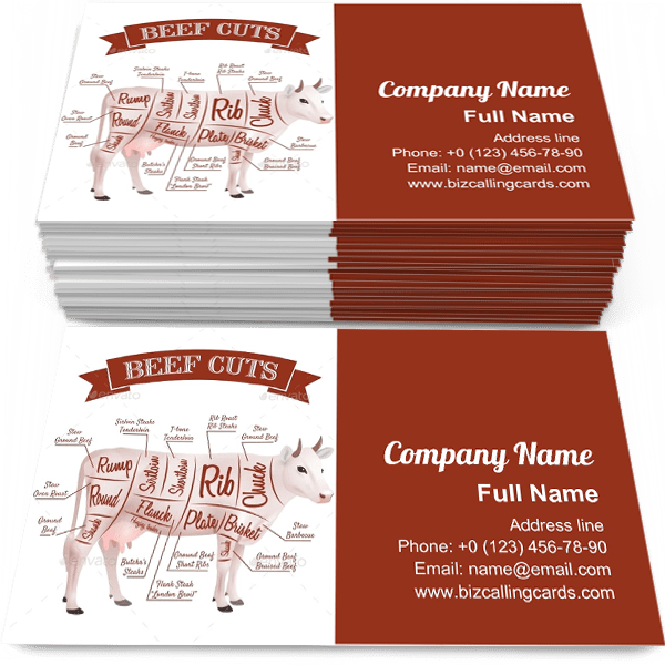 Sample of Beef cuts with parts scheme calling card design for advertisements marketing ideas and promote Butcher branding identity