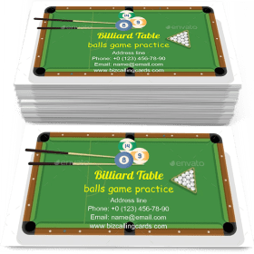 Billiard table with triangle Business Card Template