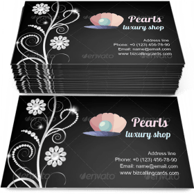Border with Pearls Business Card Template