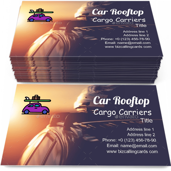 Sample of Car Rooftop Cargo Carriers calling card design for advertisements marketing ideas and promote Long Range Car Travel branding identity