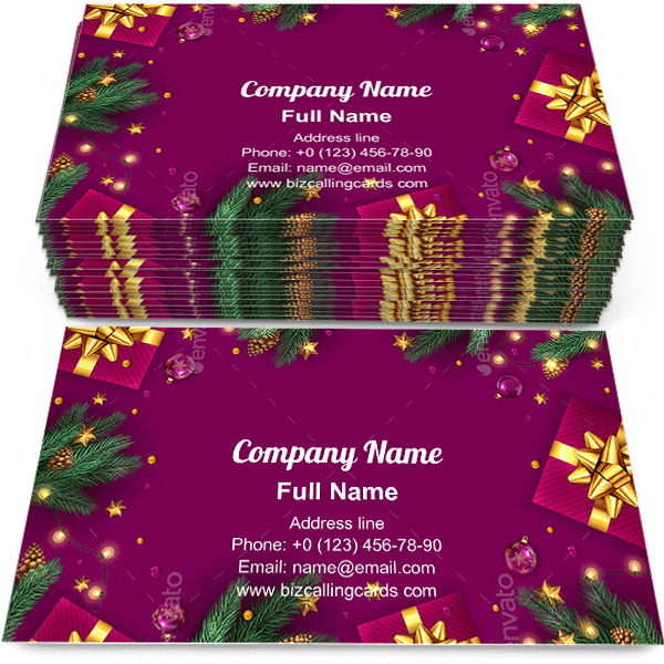 Sample of Christmas Gift Boxes calling card design for advertisements marketing ideas and promote xmas store branding identity