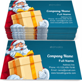Christmas Santa Claus Big Gift in Hands Business Card Template
