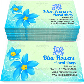 Circle of Blue Flowers Business Card Template