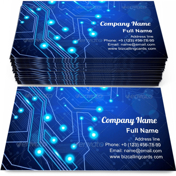 Sample of Circuit board technology calling card design for advertisements marketing ideas and promote Computer chip branding identity