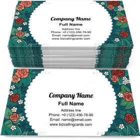 Colored floral round Business Card Template