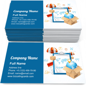 Delivery with Icons Around Business Card Template