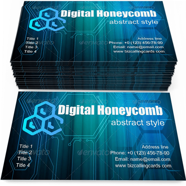 Sample of Digital Honeycomb calling card design for advertisements marketing ideas and promote abstract style branding identity