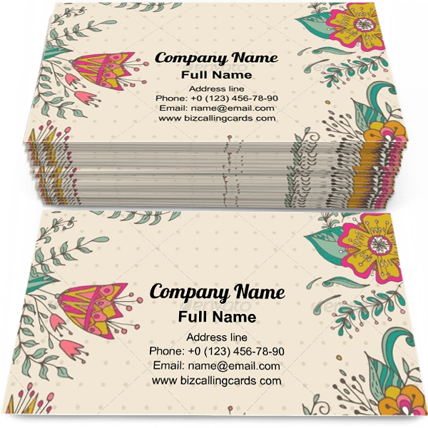 Sample of Dots and bright flowers calling card design for advertisements marketing ideas and promote flourish branding identity