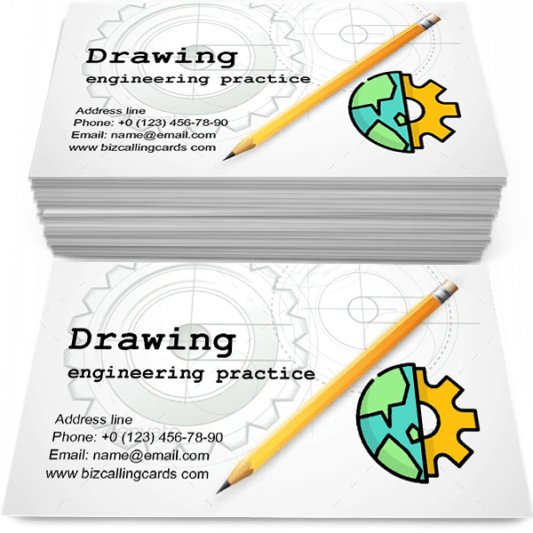 Sample of Drawing with Pencil calling card design for advertisements marketing ideas and promote engineering practice branding identity