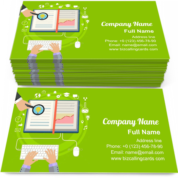 Sample of E-learning science calling card design for advertisements marketing ideas and promote online education branding identity