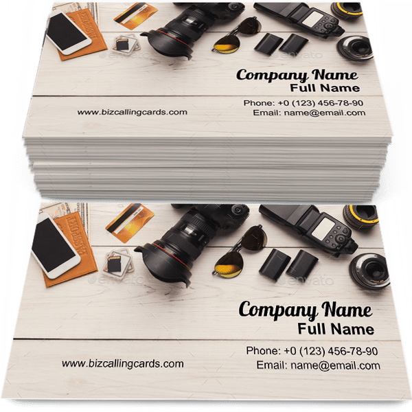 Sample of Equipment for photographer calling card design for advertisements marketing ideas and promote creative designer branding identity