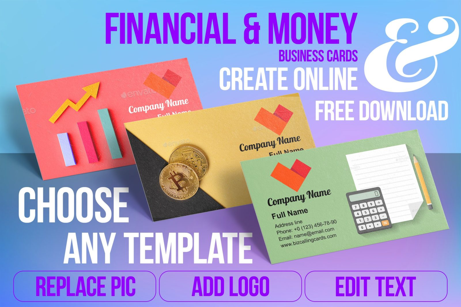 Business Card Templates For Financial & Money Free Download