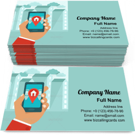 Flat GPS App Business Card Template