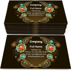 Frame with Ethnic Gold Business Card Template
