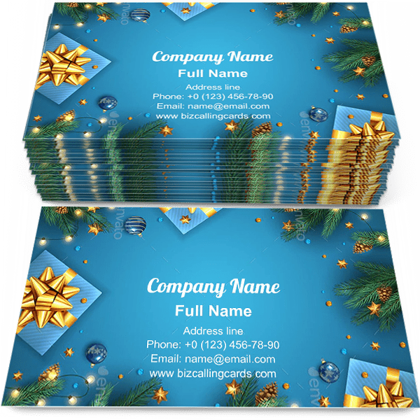 Sample of Gift Boxes with Fir Branches calling card design for advertisements marketing ideas and promote Christmas shop branding identity