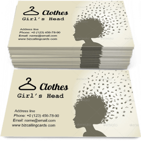 Girl's Head and Clothes Business Card Template