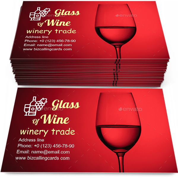 Sample of Glass of wine calling card design for advertisements marketing ideas and promote winery trade branding identity