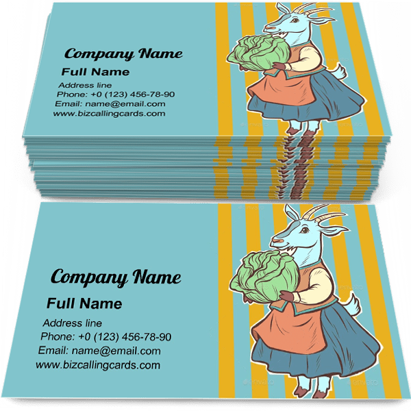 Sample of Goat with Cabbage calling card design for advertisements marketing ideas and promote vegetable garden branding identity