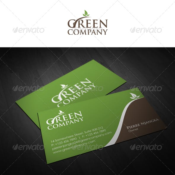 Green Color of Business Cards