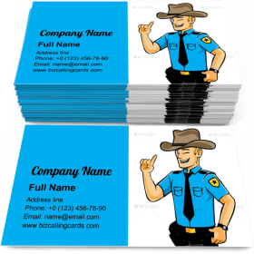 Guard cop Mascot Business Card Template