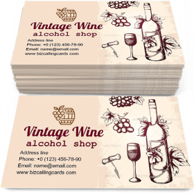 Hand drawn vintage wine Business Card Template