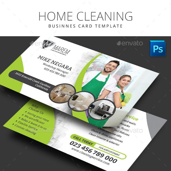 Home Cleaning Business Card Free Download
