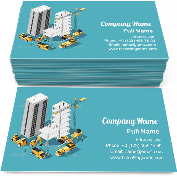 Sample of Isometric Building Construction calling card design for advertisements marketing ideas and promote engineering branding identity
