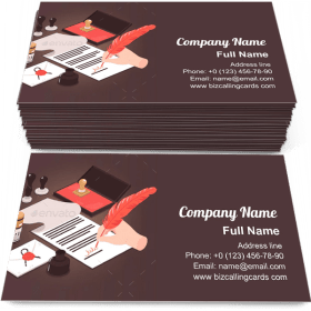 Isometric notary services Business Card Template