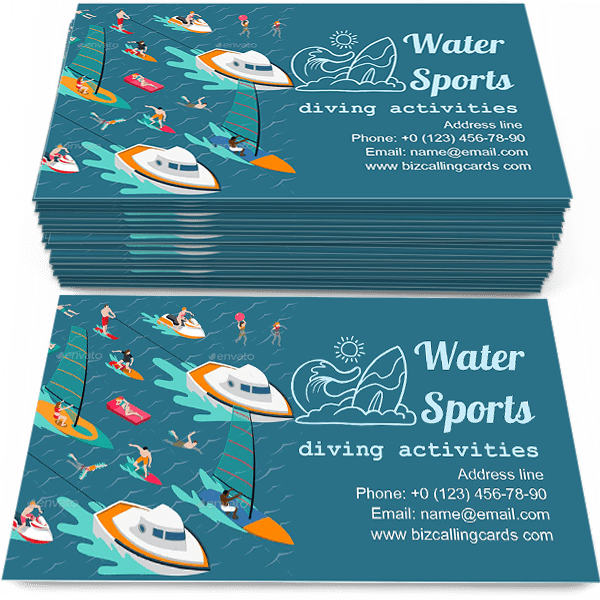 Sample of Isometric water sports calling card design for advertisements marketing ideas and promote diving activities branding identity