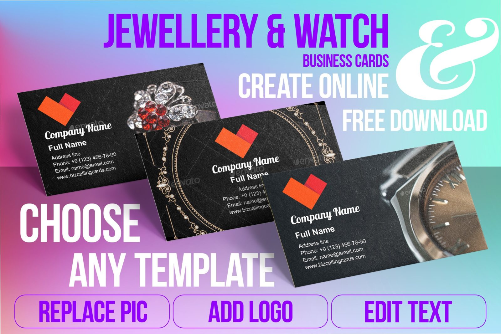 Business Card Templates For Jewellery & Watch Free Download