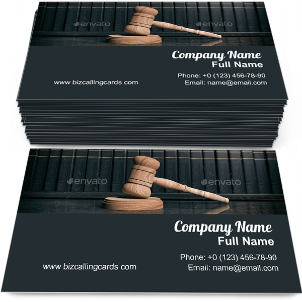 Sample of Judge gavel and law books calling card design for advertisements marketing ideas and promote judicial branding identity
