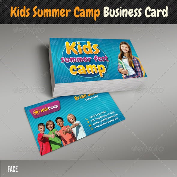 Kids Summer Camp Business Card Free Download