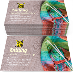 Knitting Multicolor ball Business Card Template