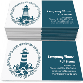 Lighthouse in Circle of Chains Business Card Template
