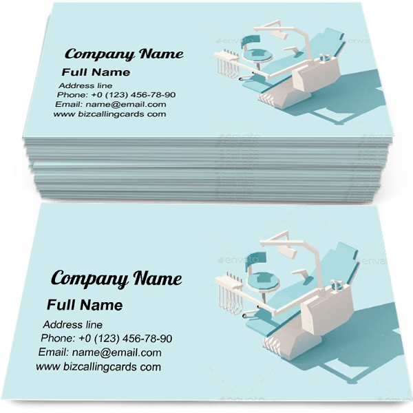 Sample of Low Poly Dental Chair calling card design for advertisements marketing ideas and promote Oral Medicine branding identity