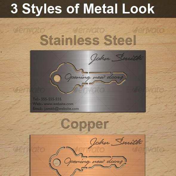 Metal Look Key Cutout business Card template Free Download