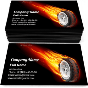 Motion Fire Wheel Business Card Template