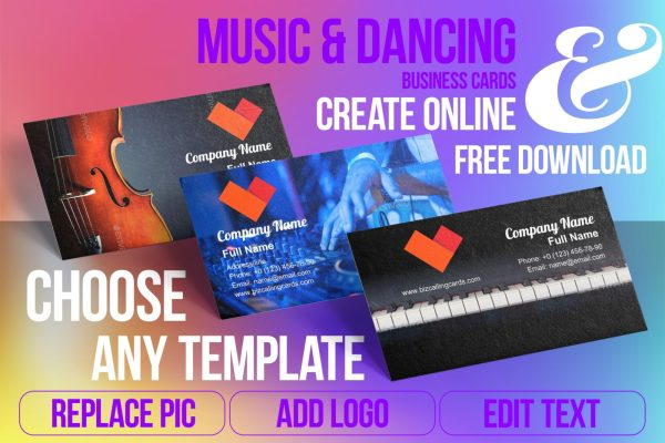 Business Card Templates For Music & Dancing Free Download